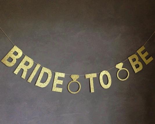 Bride To Be Gold Glitter Banner med Diamond Rings Bridal Shower - Semester och fester