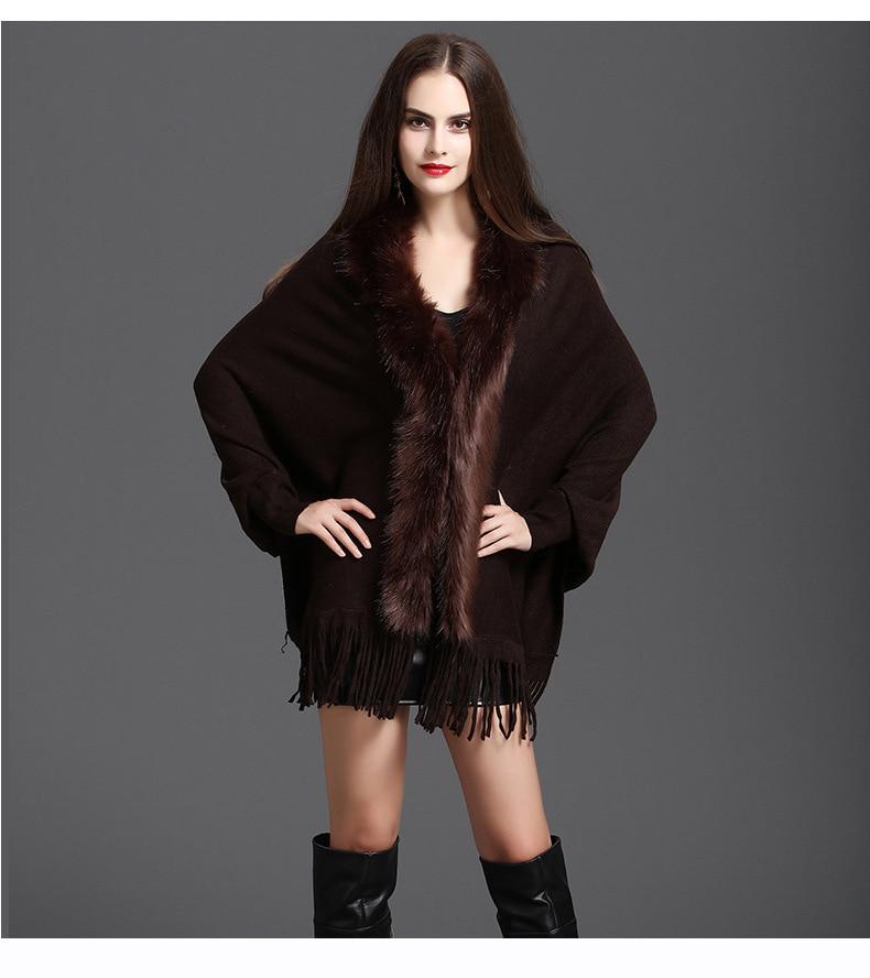 Faux Fur Collar Shawl Cardigan Tassel Winter Warm Coat 70