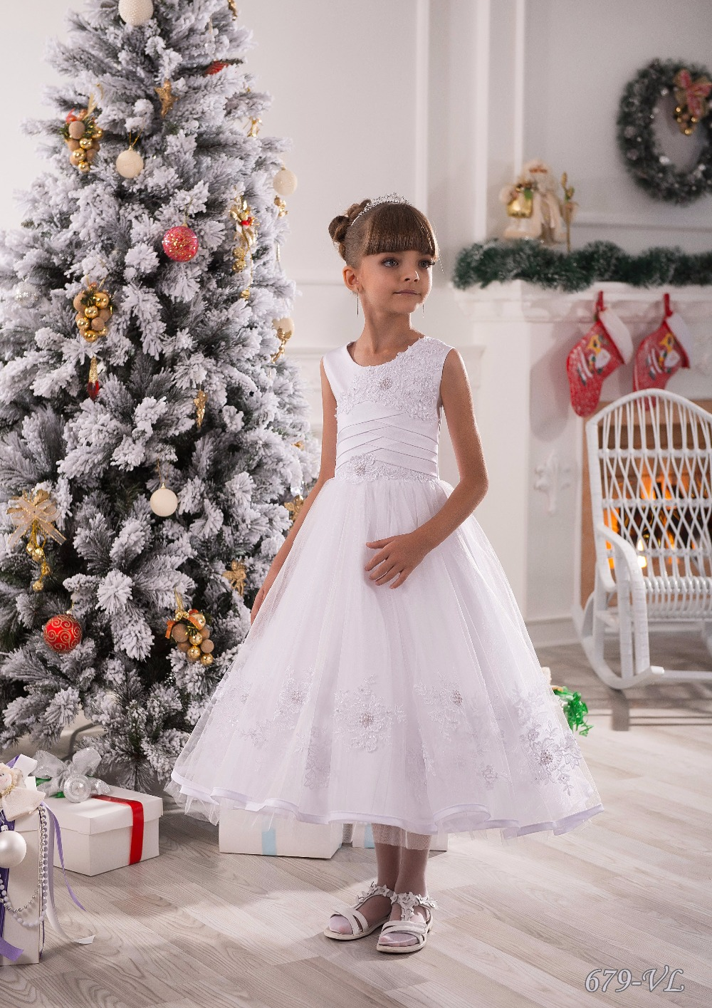 Stunning Infant Lace Appliques Sleeveless Mid-Calf Ruffle A-line Holy First Communion Kids Elegant Flower Girls Dresses 0-14 Y new holy pink flower girls dresses a line lace appliques 2017 wedding girl wear first communion dress vestidos de long sleeves