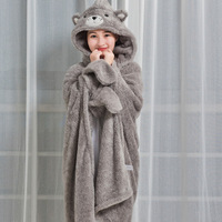 Super Soft coral Fleece Hooded Wearable Blanket Cozy Thick Warm Gloves Fleece Blanket For Home Office Bear Decor Throw Blanket