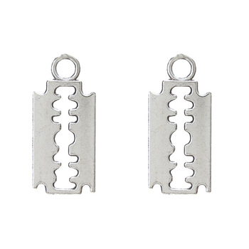 20 sztuk stop posrebrzane żyletka bransoletka Charms Choker naszyjnik zawieszki Charms do tworzenia biżuterii Handmade Craft 14*11mm