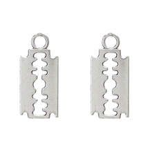 20pcs Alloy Silver Plated Razor Blade Charms Bracelet Choker Necklace Pendant Charms For Jewelry Making Handmade Craft 14*11mm cheap Fashion EY3824 TRENDY Zinc Alloy Metal Lucky eye