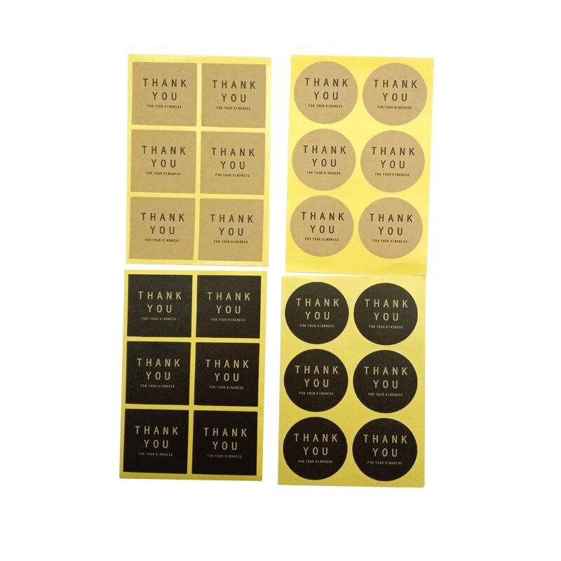 120 pz/lotto forma del cerchio quadrato grazie imballaggio adesivo fatto a mano etichetta adesiva sigillante adesivi regalo di natale fai da te