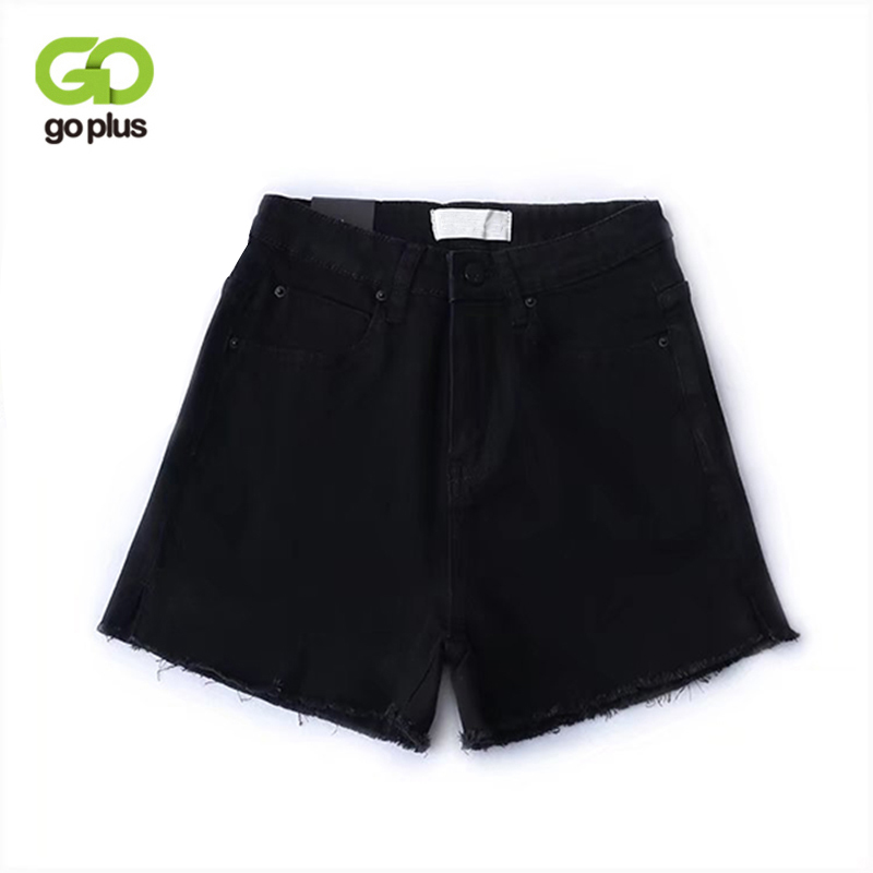 Goplus Black Denim Shorts 2019 Vintage High Waist Fashion Button Pockets Skinny Women Shorts Summer Sexy Jean Shorts C5727