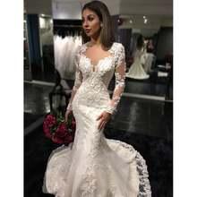 Женское свадебное платье с юбкой годе белое кружевное длинными