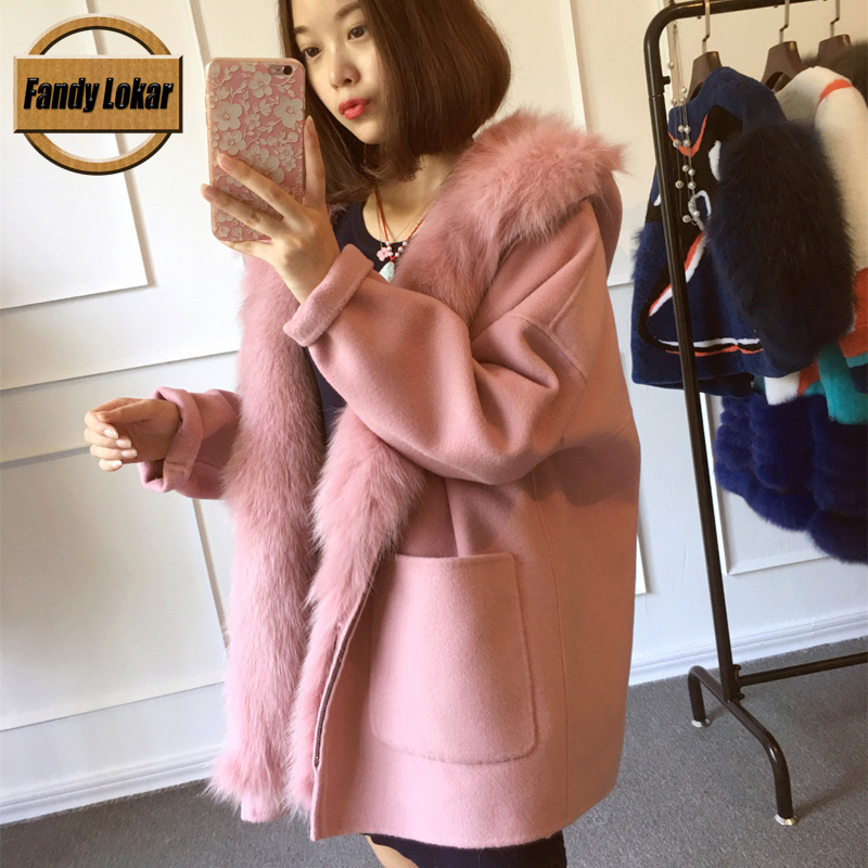 FL Brand New Wool Fleece Coats Women Autumn Winter Medium Long Solid Hooded Jacket Female with