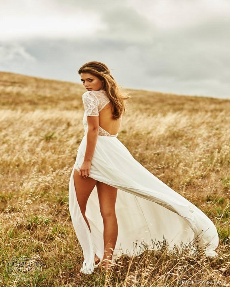 New design beach wedding dress 2017 sexy lace short sleeve for Shorten wedding dress after wedding