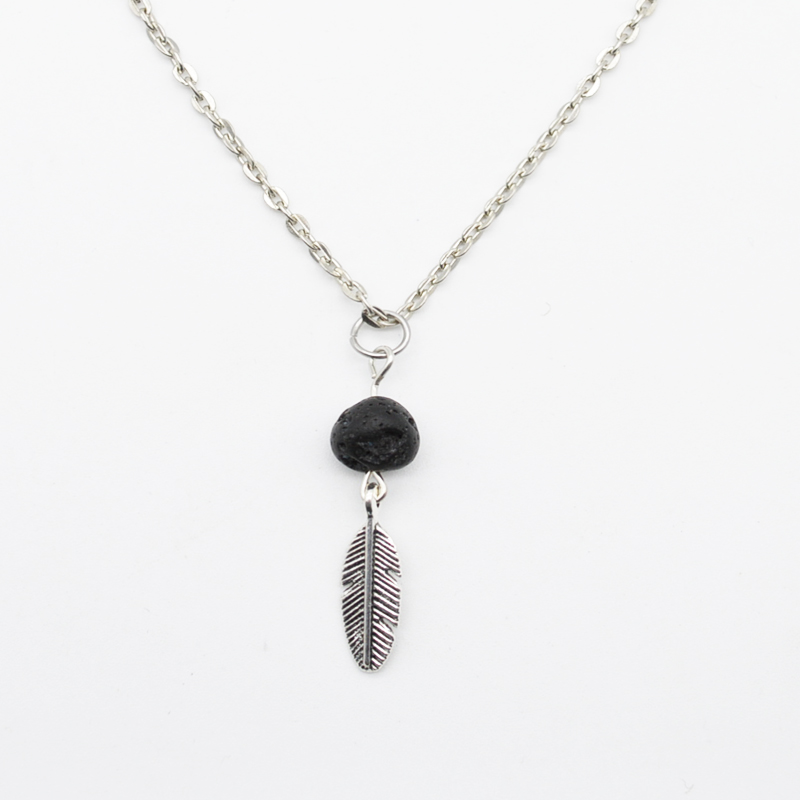 2016 Infinity Necklace Natural Lava Stone Pendant For Women Kid Gift Metal Feather Moon Necklace Boho Minimalist Necklace