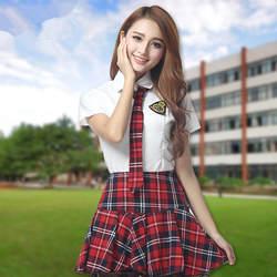Лидер продаж для школьниц Косплэй матроску студент сцены летняя футболка с коротким рукавом и клетчатая юбка S-2XL JK Unifor