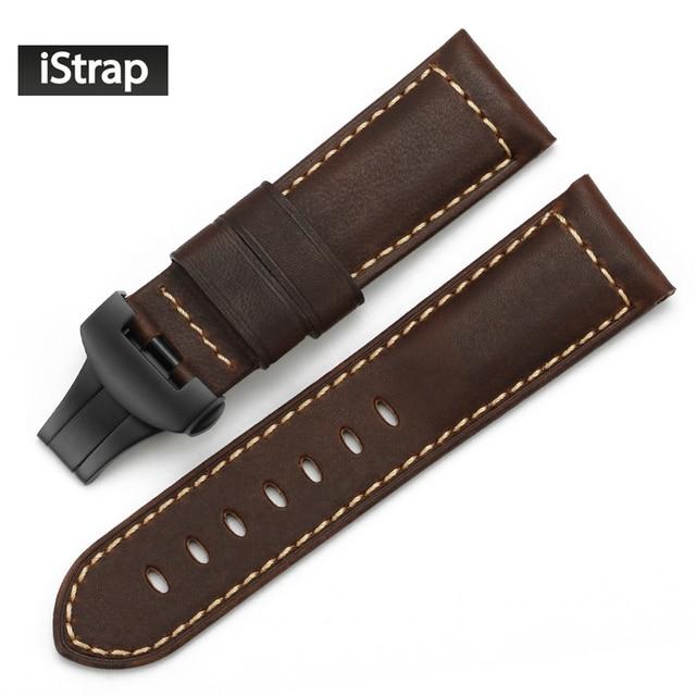IStrap 24 мм Кожаный Ремешок Для Часов Ручной Ремешок Браун Assolutamente Смотреть band для PANERAI Развертывания Смотреть Браслет Пояса