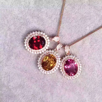natural red garnet pendant S925 silver Natural pink topaz citrine Pendant Necklace trendy Elegant round women party fine jewelry