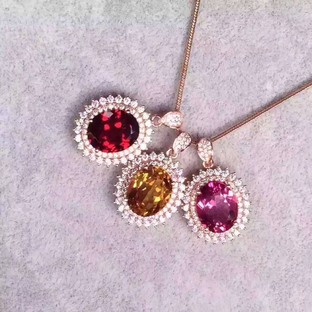 Natural red garnet pendant s925 silver natural pink topaz citrine natural red garnet pendant s925 silver natural pink topaz citrine pendant necklace trendy elegant round women mozeypictures Gallery