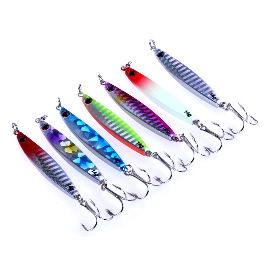 Jigging Lead Alloy Fish 6CM 14G 6 Metal Jig Fishing Lure 7 Color Paillette Knife Wobbler Artificial Hard Bait Bass Treble Hook in Fishing Lures from Sports Entertainment