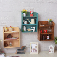Coloffice Vintage Solid Wood Wall Organizer 3 Layer Stationary Holder Home Decorate Multi Function Storage Rack