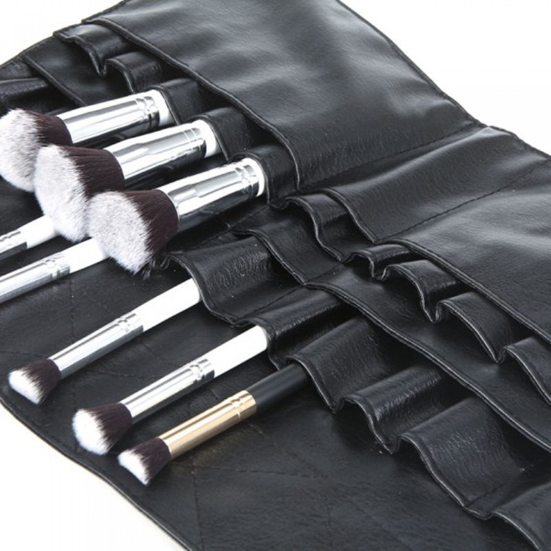 Black Two Arrays Makeup Brush Holder Professional PVC Apron Bag Artist Belt Strap Protable Make Up Bag Cosmetic Brush Bag