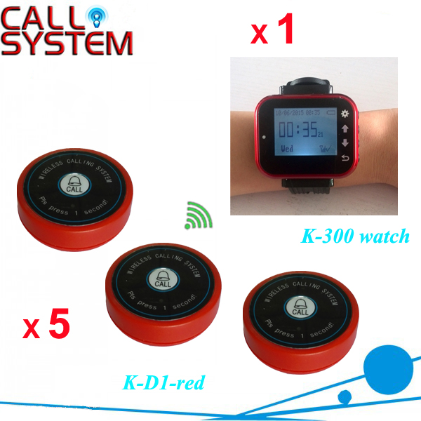 Wireless Calling System for Restaurant paging push to call button 5 bell buttons and 1pcs wrist watch pager service call bell pager system 4pcs of wrist watch receiver and 20pcs table buzzer button with single key