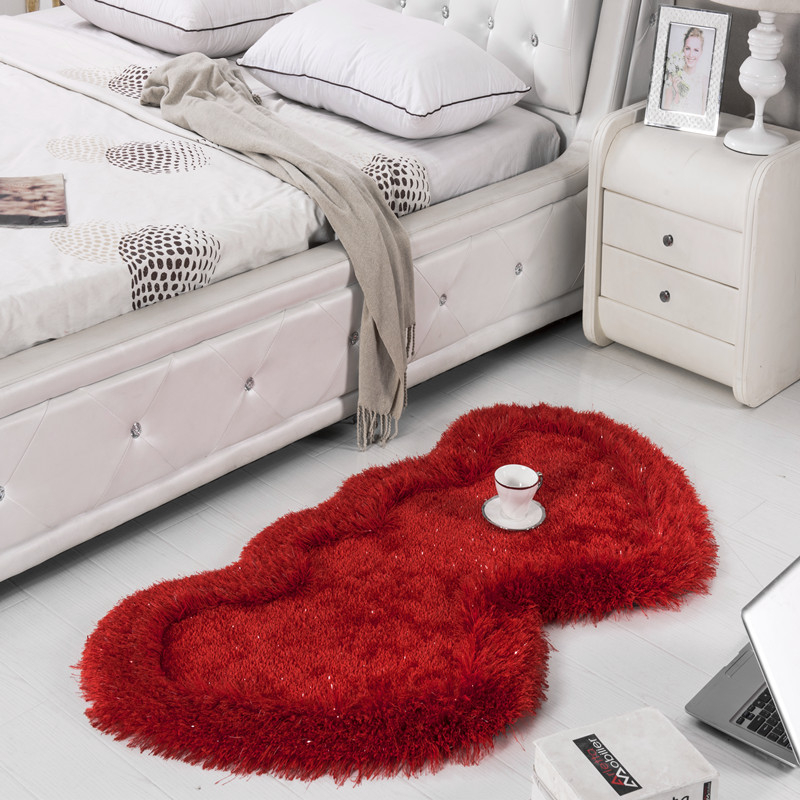 Couleur unie Double coeur tapis de bain tapis Shaggy pour cuisine salle de bain chambre tapis de sol romantique zone tapis salle de bain
