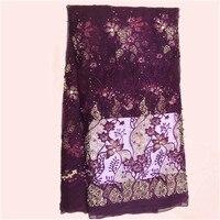 En gros prix fleur broderie Français net dentelle tissu pour robe de soirée de tulle Africain tissu ZQN42 (5 yards/lot)