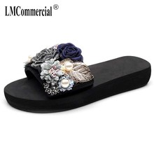 Sandals female summer wear fashion high heel thick bottom one word anti-slip flower color matching slope sandals beach slippers