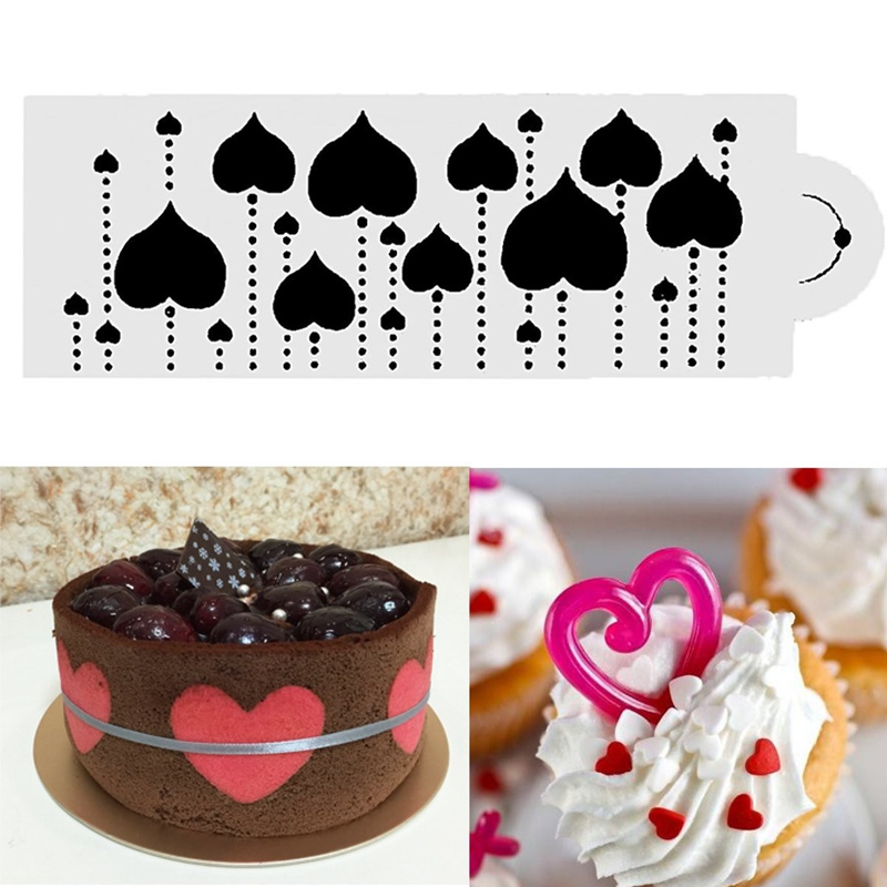 New Coffee Milk Cake Cupcake Barista Stencils Latte Template Strew Pad Duster Spray Tools Coffee Diy Decor Dessert Baking Mold
