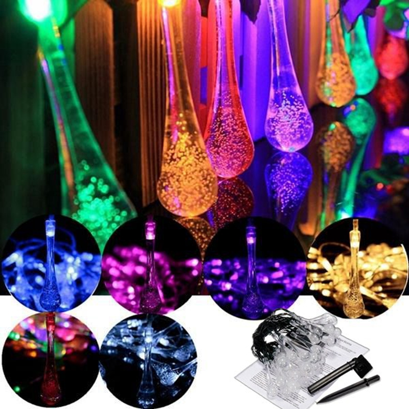 Led Raindrop Fairy Solar Lights Waterproof Christmas Holiday Outdoor Garden Decoration Fairy Solar Battery String Lights