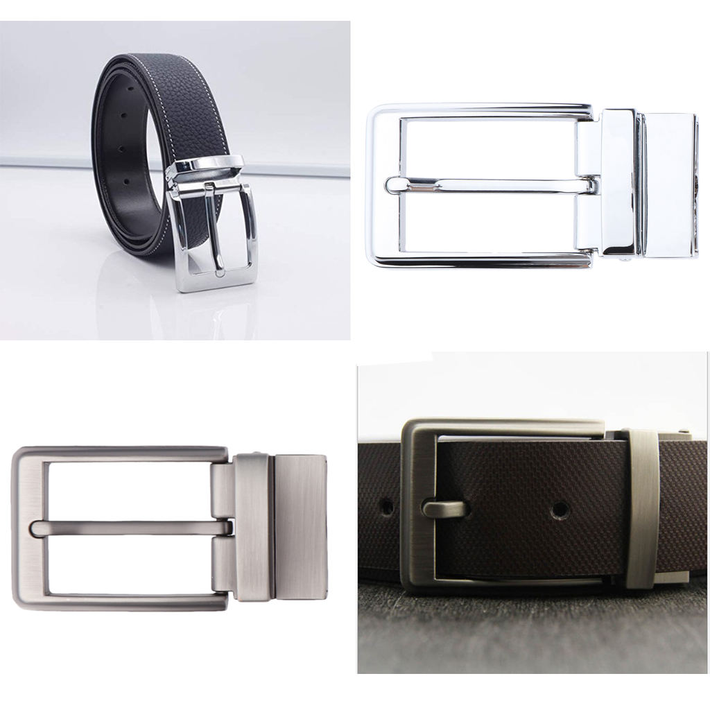 100% Brand New Reversible Alloy Belt Buckle Single Prong Rectangular For Men's 33-34 Mm/1.3-1.34 Inch Wide Belts