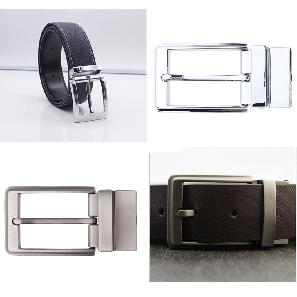 100% Brand New Reversible Alloy Belt Buckle Single Prong Rectangular For Men's 33-34 Mm/1.3-1.34 Inch Wide Belts