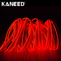 5m EL Cold Fluorescent Green Light Waterproof Flat Flexible Car Strip Light 7 Color With Driver