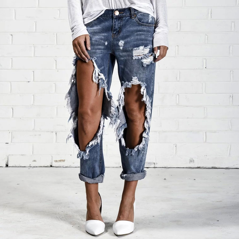 2017 New Female Jeans Women Boyfriend Style Blue Knee With Ripped Big Holes Denim Pencil Pants Vintage Trousers L356 new women girls casual vintage wash denim overall suspender jean trousers pants boyfriend style denim shorts blue