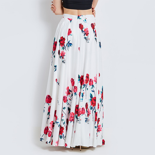 women casual maxi skirts summer red floral print floor length ...