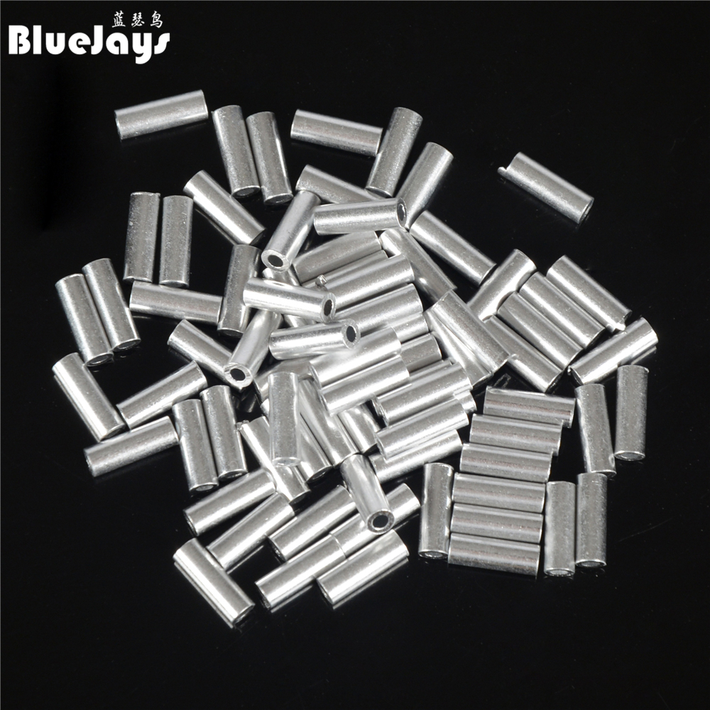 Bluejays 100pcs/lot fishing line Aluminum Crimp sleeve aluminum tube 1.0mm-2.0mm sea fishing accessories line tube