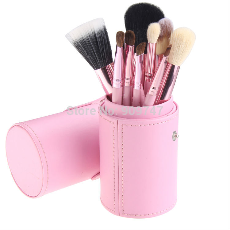 New 12pcs 12 Professional Makeup Brush Set Cosmetic Brush Kit Makeup Tool with Cup Leather Holder Case pink professional 13 in 1 piano tuning maintenance tuning tool kit with portable pu leather case easy operate
