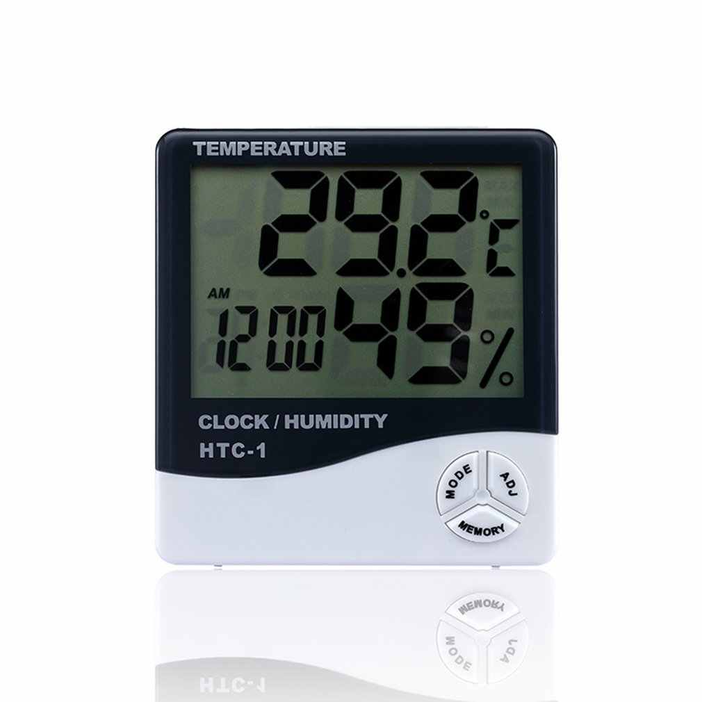 HTC-1 Indoor Room LCD Electronic Temperature Humidity Meter Digital Thermometer Hygrometer Weather Station Alarm Clock