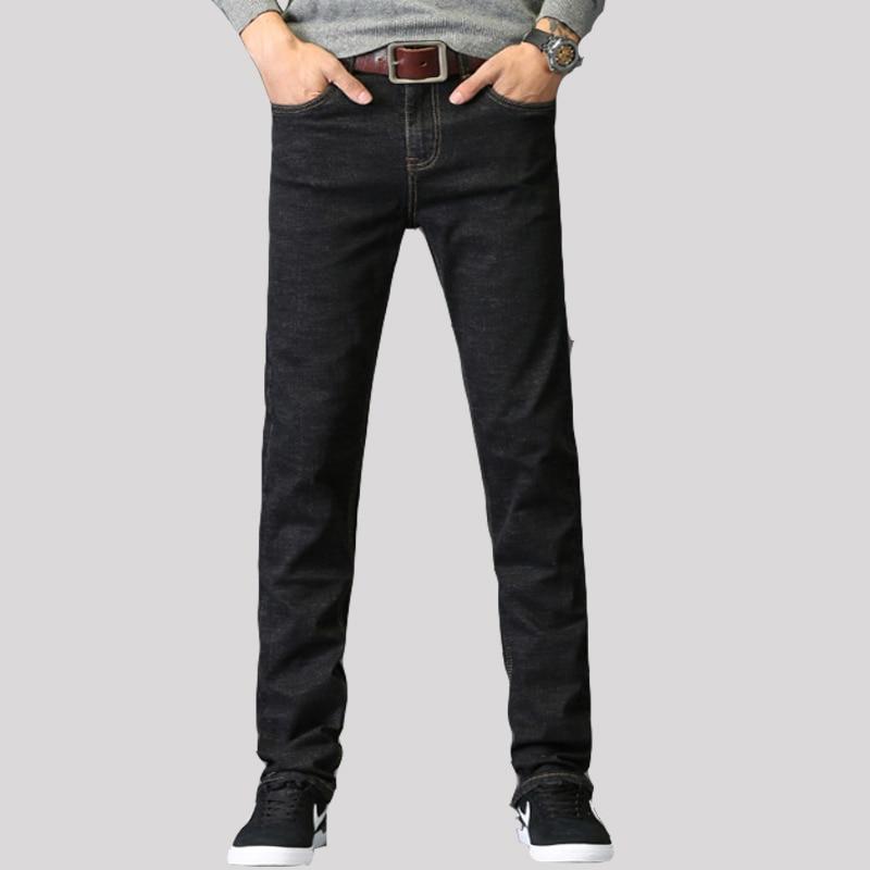 2019 New Men's Thin Light Jeans Utmeon Brand Jeans Men High Stretch Black  Slim Straight Denim Business Men's Pants Mens Jeans