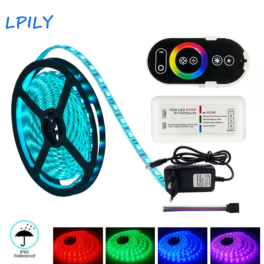 LPILY 2835 5050 LED Strip Light Non Waterproof DC 12V Led Tape 10m 5m LED Flexible Light Strip 15m with Power and RF Controller