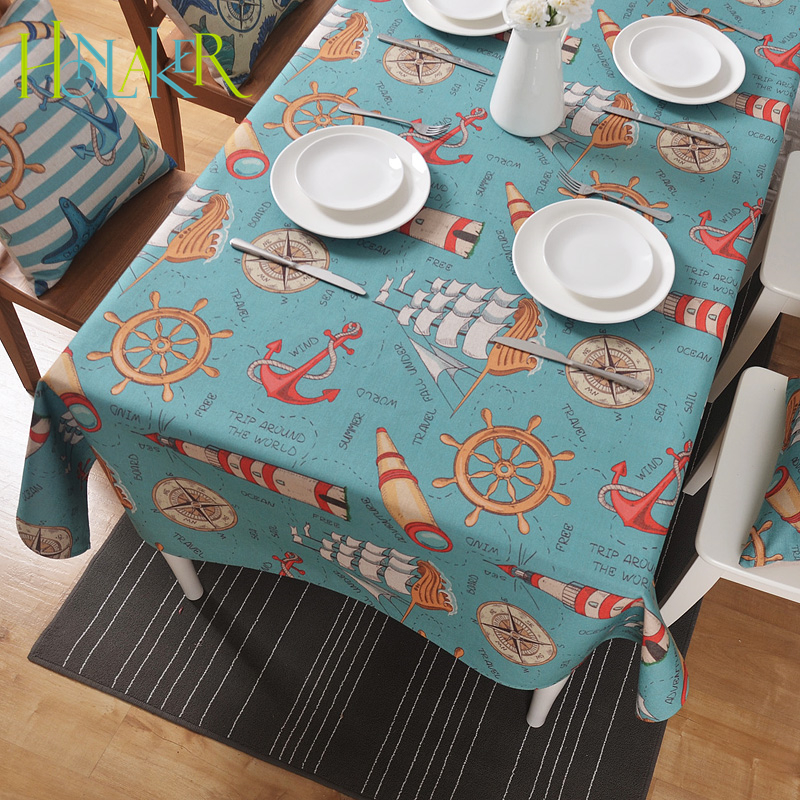 Honlaker Mediterranean Retro Tablecloth Thickening Cotton Linen Decorative Table Cloth