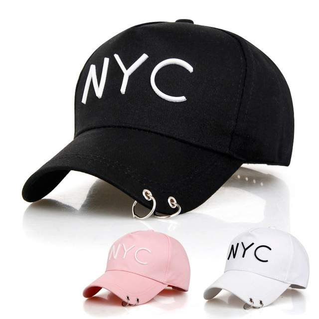 0d9dff25fe1bc New Adjustable Korean Style Baseball NYC Letter Cap Lovers Female Male  Hit-hot Summer Cap Personality Hat Rings QF12