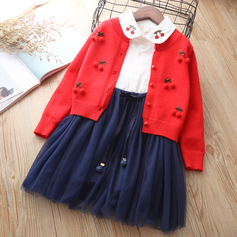 Children outfits One-piece + Sweater suit for girls knitted Cardigan Autumn Winter girls Clothing set Kids cotton 2 pcs Clothes autumn and winter wear new suit children sweater hooded culottes two piece suit for girls