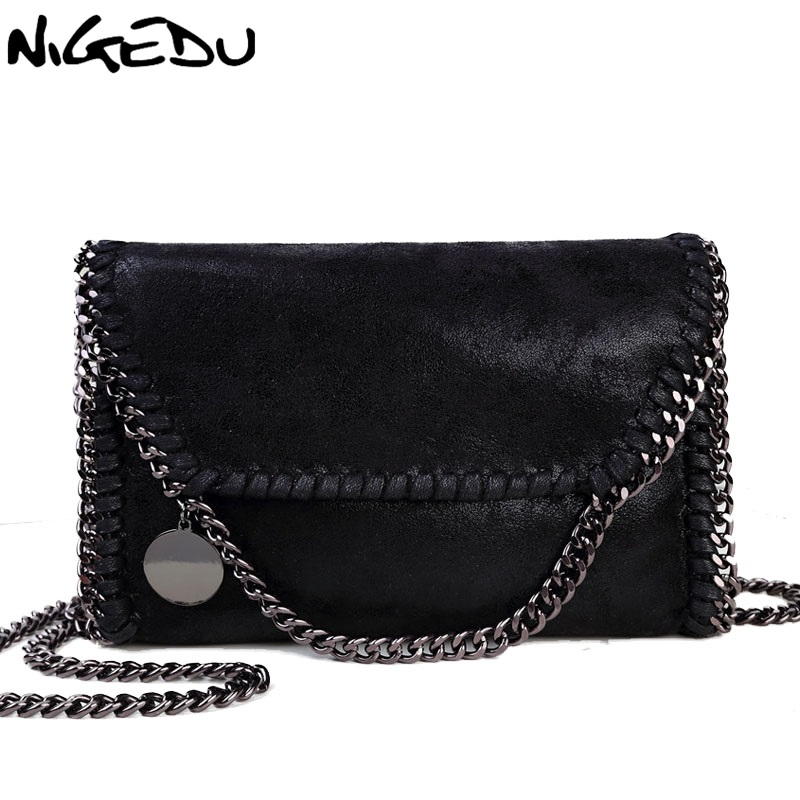 цена NIGEDU Fashion Womens design Chain Detail Cross Body Bag Ladies Shoulder bag clutch bag bolsa franja luxury evening bags