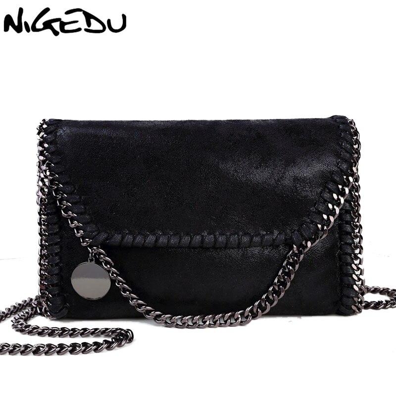 NIGEDU Mode Frauen design Kette Detail Kreuz Körper Tasche Damen Schulter tasche handtasche bolsa franja luxus abend taschen