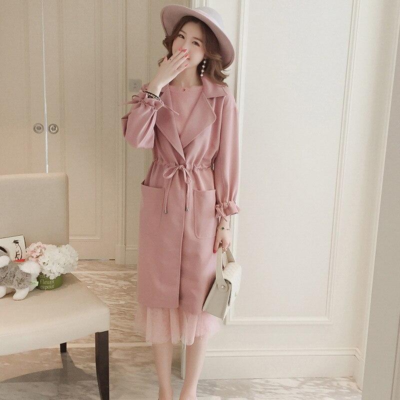 Occasionnel Classique Fashion Tranchée New Manteau Survêtement Gris rose 2017 Double Femme High Breasted Sxcharm Automne 1wYx7F