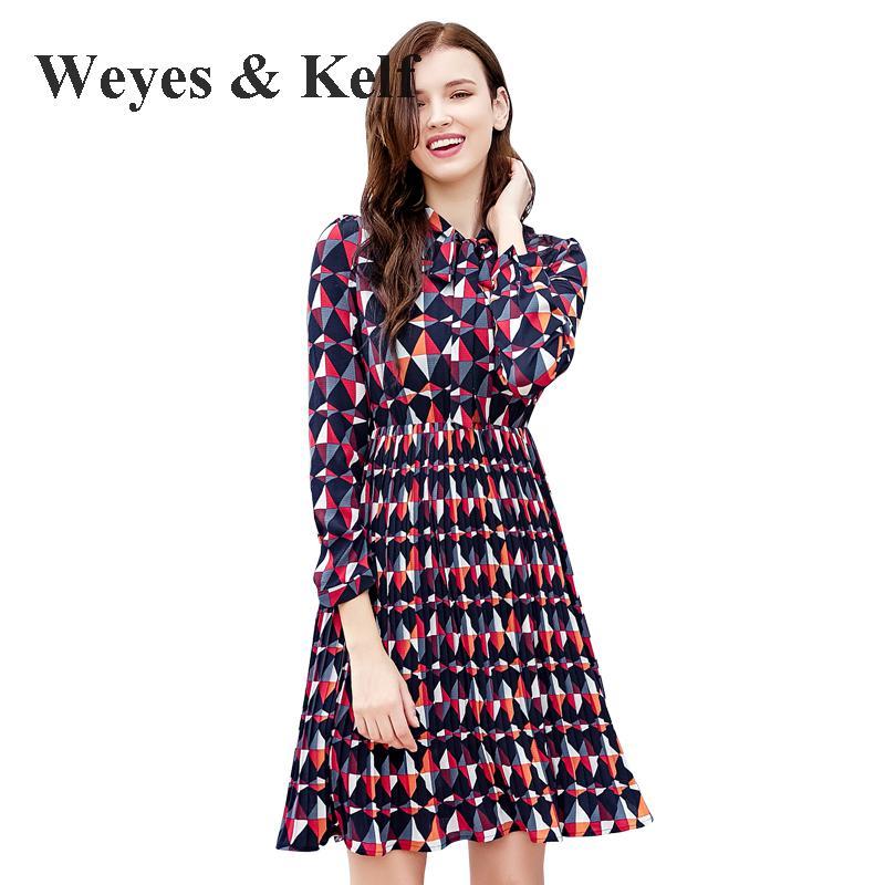Weyes & Kelf mode v-cou imprimé en mousseline de soie Robe de soirée femmes 2017 hiver Plus cachemire chaud femmes robes de soirée Robe Femme