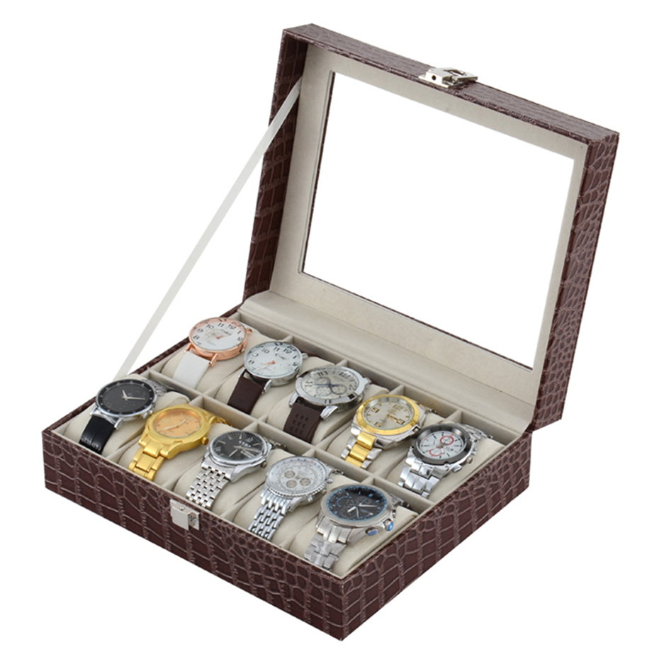 10 Grids Watch Case Jewelry Storage Organizer PU Leather Watch Storage Case Box Holder for Jewelry Watch Display Storage Boxes black jewelry watch box 10 grids slots watches display organizer storage case with lock