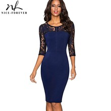 Nice-forever Vintage Sexy Embroidery Lace 3/4 Sleeve vestidos Tunic Bodycon Women Wear to Work Office Business Dress B417