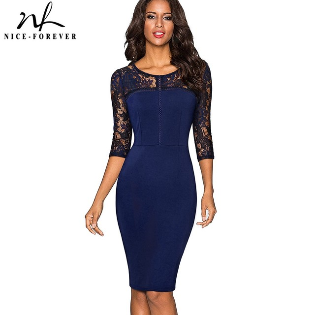 Nice-forever Vintage Sexy Embroidery Lace 3 4 Sleeve vestidos Tunic Bodycon  Women Wear 45fe10ca3