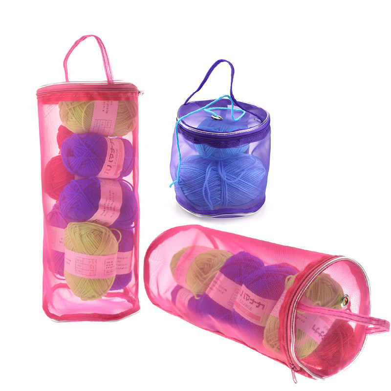 KOKNIT Knitting Yarn Round Crochet Bag Craft Nylon Yarn Case Organizer Storage Baskets Traveling Sewing Tools Sewing Accessories