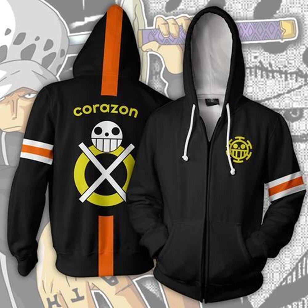Japanese Anime 3D One Piece Trafalgar Law Hoodie Zip Hooded Cosplay Sweatshirts Fashion Men Luffy Uniform Clothes