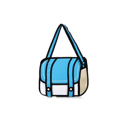 New Fashionable 2D Bags Novelty Back To School Bag 3D Drawing Cartoon Comic Handbag Lady Shoulder Bags Messenger 6 Color Gifts