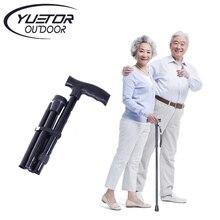 Buy online T handle Telescopic Black  folding Walking Sticks Aluminum Alloy Trekking Hiking Poles  Bastones Para Ancianos A Cane for elder