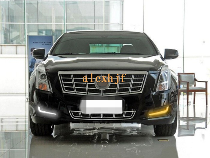 все цены на July King LED Light Guide Daytime Running Lights LED DRL With Yellow Turn Signals case for Cadillac XTS 28T 2013 Comfort Edition онлайн